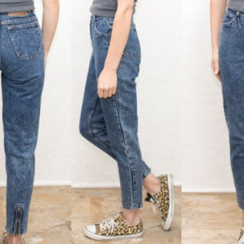 90s VTG Blue Denim Jeans • High Waisted Denim Skinny Cigarette Jeans / High Rise Waist / 1990s grunge / small xs • size 24 25 26