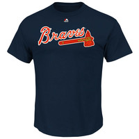 Men's Atlanta Braves Freddie Freeman Majestic Navy Official Name and Number T-Shirt