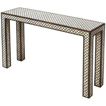 Cosmopolitan Basan Wood & Bone Inlay Console Table