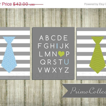 Nursery Wall Art Prints / 8x10 inch / alphabet / neckties / set of three / green blue gray / little man / baby boy / boy's room decor