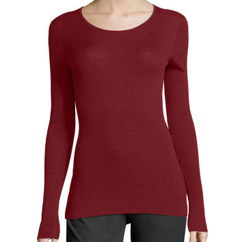 Mirzi Long-Sleeve Ribbed Sweater, Cherrywood, Size: