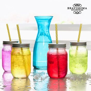 Vintage Colors Bravissima Kitchen Bottle with 4 Glass Jars