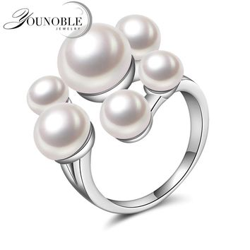 Wedding Real natural freshwater pearl rings for girls,funny 925 silver rings for women adjustable anniversary white best gifts