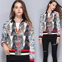 Gucci Fashion Women Casual Four Tiger Head Print Stitching Embroidery Zipper Cardigan Jacket Coat