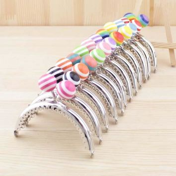 C3 8.5cm stripe lollipop bead Metal Purse Frame semicircle smooth and clean Silver lace Coin Purse Frames 5pcs/lot