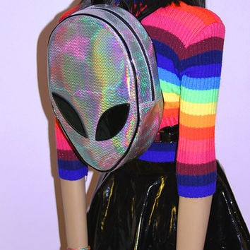 SALE! Rainbow Hologram Alien Backpack