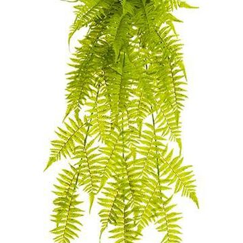 "UV Protected Outdoor Plastic Boston Fern Hanging Plant - 35"" Long"