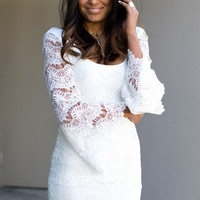 White Long Bell Sleeves Floral Lace Mini Dress