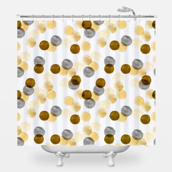 Gold Watercolor Dots Shower Curtain