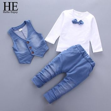 Trendy HE Hello Enjoy Baby Clothes For Boys Autumn Long Sleeve Tie T-shirt+Denim Vest+Pants 3pcs Sets Children Clothing Fashion Outfit AT_94_13