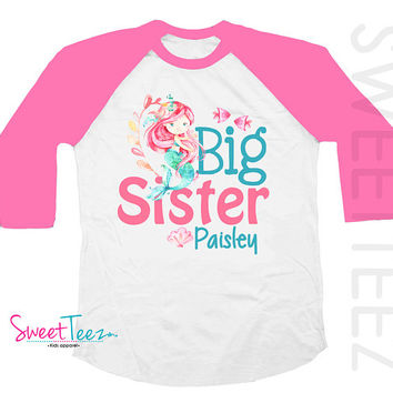 Big Sister Shirt Girl Mermaid Hot Pink Kids Hip Raglan Sibling Announcement Shirt Pregnancy announcement Big Sister to Be Shirt