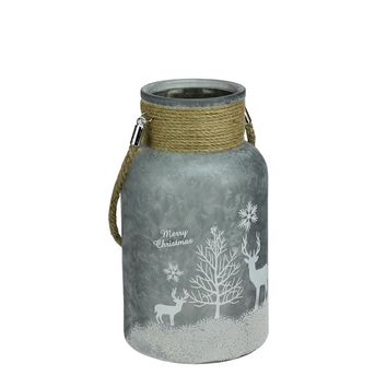 "10"" Silver White Iced Winter Scene Decorative Christmas Pillar Candle Holder Lantern with Handle"