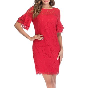 SUNNOW Women's Round Neck Three-quarter Bell Sleeves Floral Print Lace Shift Dress