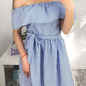 Blue-White Striped Sashes Draped Vintage Off Shoulder Ruffle Homecoming Party Mini Dress