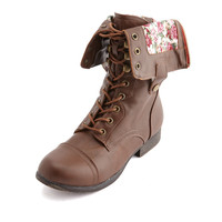 FLORAL-LINED ZIP COMBAT BOOT