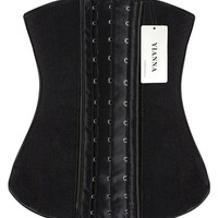 YIANNA Women's Latex Sport Girdle Waist Training Corset Waist Body Shaper for weight loss, Size M (Black)
