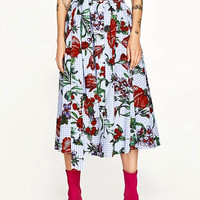Piolychrome Plaid Floral Button Up Tie Waist Midi Prom Skirt