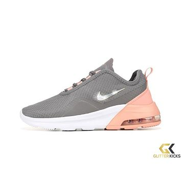 Womens Nike Air Max Motion 2 + Crystals - Grey/Pink/Gold/White