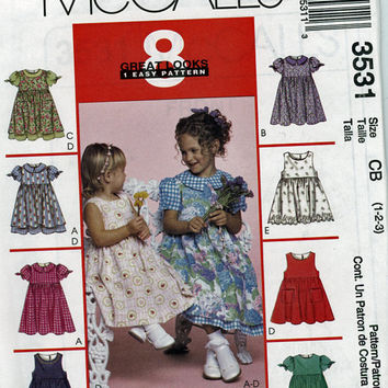 2002 Little Girls Dress Pattern Eight Styles McCall's Uncut
