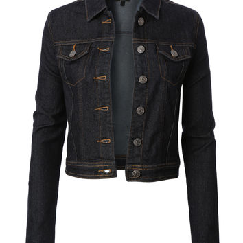 LE3NO Womens Classic Dark Cropped Long Sleeve Denim Jean Jacket with Pockets
