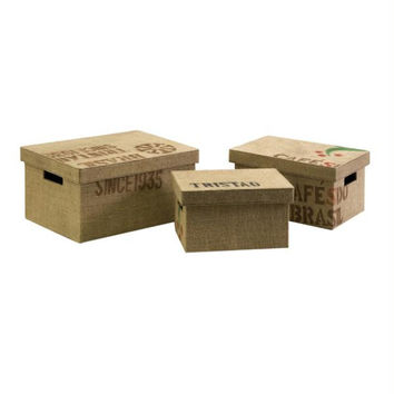 3 Storage Boxes - Stenciled Typographic