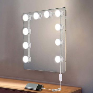 USB Powered Makeup Mirror Vanity LED Light Bulbs Lamp Kit 5 Levels Brightness Adjustable Lighted Make up Mirrors Cosmetic Tool