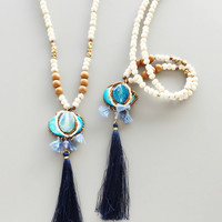 Royal Blue Mongolian Beaded Tassel Necklace