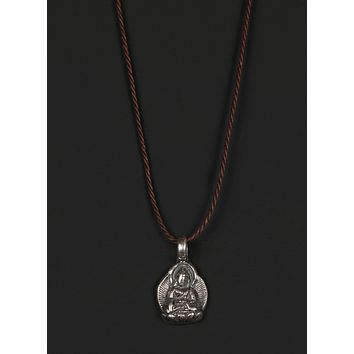 Men's Cord Necklace with Sterling Silver Buddha Pendant