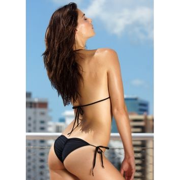 Black Scrunch 2 Piece Sexy puckered Back Bikini Bottom - Scrunch Butt Bikini, Small Scrunch Butt Bottoms, Triangle Top Bikinis, Sexy Scrunch Back Bikini, Medium Triangle Top Bikini, Sexy Triangle Top Bikini - TBSW Swimwear Miami Beach
