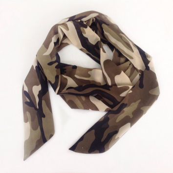 Camo print Bow Scarf, 58x4 Printed Chiffon Scarf,  Camouflage Scarf, Gift for Army Friend Birthday gift for hunter Camo head band scarves