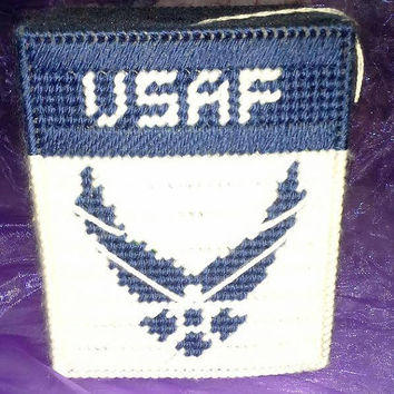 United States Air Force Tissue Box Cover, USA, Armed Forces, Box Cover, Boutique Tissue Box, Plastic Canvas Box, USAF, Veteran Appreciation