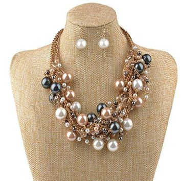 IPINK Fashion Charm Jewelry Pendant Faux Pearl Choker Chunky Statement bib Necklace and Earrings Set