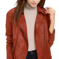 Mink Pink Now or Never Rust Orange Suede Jacket