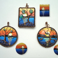 Tree of life pendant Sea sunset pendant Polymer clay landscape necklace Wire wrapped jewelry Copper jewelry Blue orange and yellow necklace