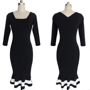 Black 3/4 Sleeve Ruffled Midi Dress