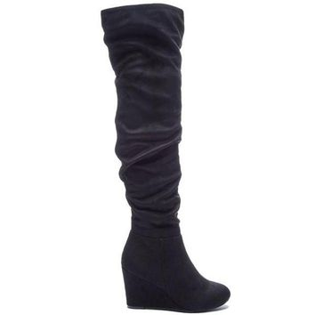 ONETOW Chinese Laundry Ultra - Black Suede Wedge Boot