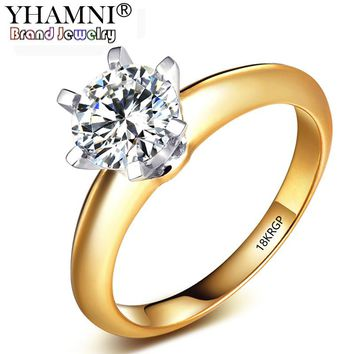 YHAMNI 18KRGP Stamp Original Pure Yellow Color Gold Ring Natural Solitaire 8mm 2ct Sona Stone Engagement Wedding Rings For Women