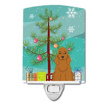 Merry Christmas Tree Cocker Spaniel Red Ceramic Night Light BB4220CNL