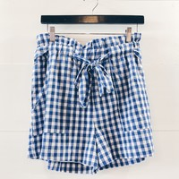 Abigail Gingham Paper Bag Waist Shorts
