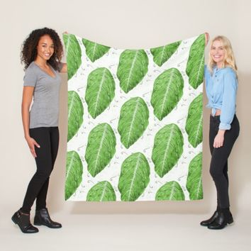 Swirly Green Leaf Whimsical Botanical Pattern Fleece Blanket