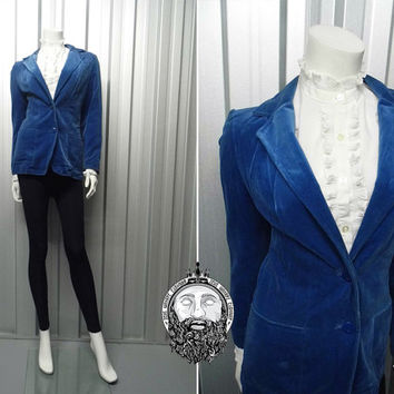 Vintage 70s Blue Velvet Womens Blazer Carnaby Street 1970s Fitted Jacket Smart Clothing Wide Lapels Tailored Fit Edwardian Riding Jacket
