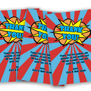 Superhero Thank You Cards - Superhero Party Thank You Tags - Comic Baby Shower - Superhero Birthday Party Favor Tags - Red - Pow - Blue