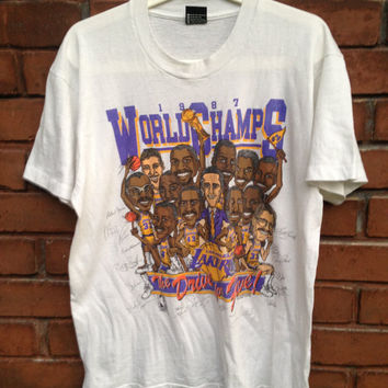 Vintage La Lakers 1987 Caricature Signed T-shirt