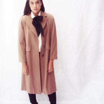 vintage 70s Wool Winter Coat S, M Knee Length Menswear Androgyny Schoolgirl Preppy Grunge Winter Coat