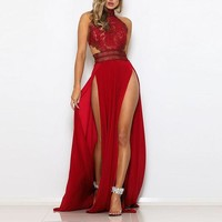 Juniper Chic Detailed Double-Slit Maxi Gown