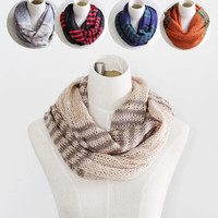 paillette stripe knitted infinity scarf, women men unisex winter warm scarves, scarf ring, hood loop, gift for mother