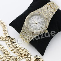 HIP HOP ICED OUT RAONHAZAE GOLD FINISHED LAB DIAMOND WATCH CUBAN CHAIN SET11