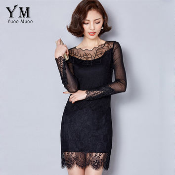 YuooMuoo 2016 New High Quality Embroidery Women Black Dress Fashion Spring Autumn Lace Dress Plus Size Long Sleeve Korean Dress