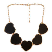 FOREVER 21 Faux Leather Heart Necklace Black/Gold One