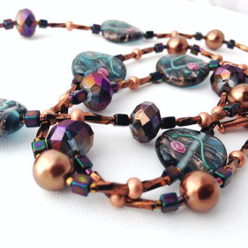 "Lampwork Glass Beaded Necklace - Bronze, Black, AB Crystal - 24"" Long - brown, gold, pink, green - Asian feel - copper toggle clasp - pearl"